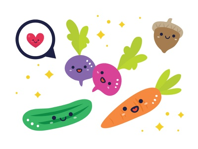 Illustration - Veggies nut cute veggies carrot radish cucumber