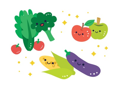 Illustration - Veggies 02 sayur eggplant corn tomato veggies apple