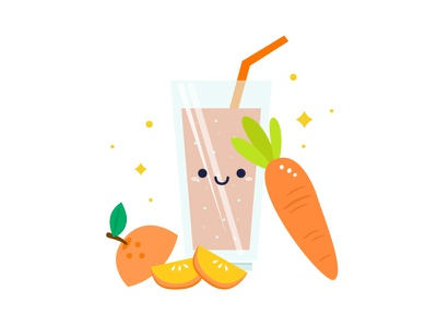 Illustration : Smoothie 02 drinks glass healthy carrot orange juice smoothie
