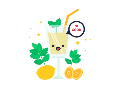 Illustration : Smoothie 05 drinks juices smoothies mint lemon