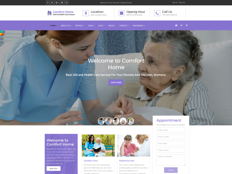 Comfort Home - Old & Health Care Template dementia care typography design old care