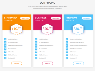 Pricing Table css html html 5 pricing table price pricing