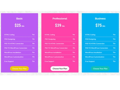 Pricing Table Design css3 bootstrap 3 pricing plan pricing pricetag price pricing table