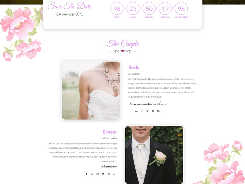 Lavender - Wedding Event, Planner & Coming Soon HTML Template bride  groom bride timecounter wedding wedding event couple