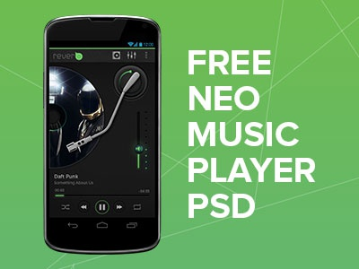 New Music Player - Free PSD player ui icons buttons android psd mobile inspiration music black glow tron