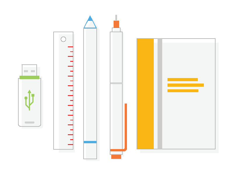 Tools for designer web design flat icon illustration line icon