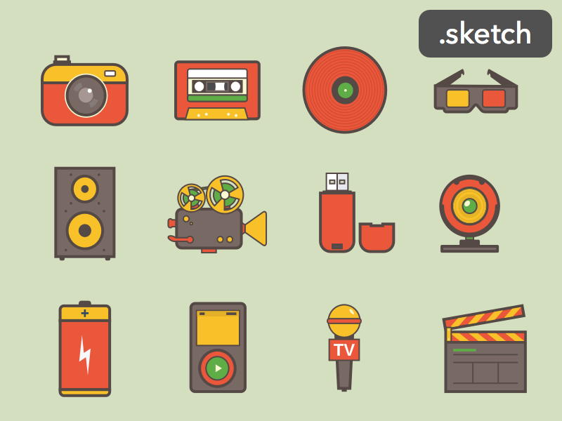 Media Icons - Free Download flat icons media entertainment icon set mic camera usb battery ipod cassette