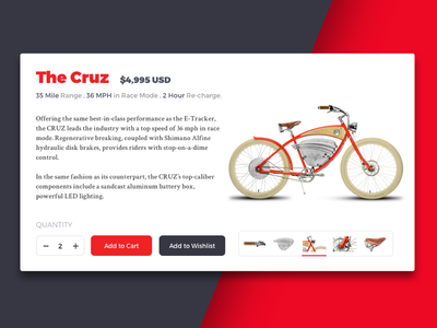 E-commerce cart cart red sketch ux ui flat e-commerce bike card