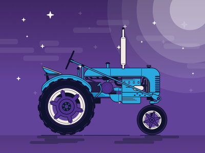 Tractor outline flat 2d nature farm illustration blue night tractor purple