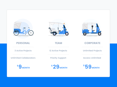 Pricing auto rickshaw tuk-tuk hackney carriage ux ui table pricing price plan illustration
