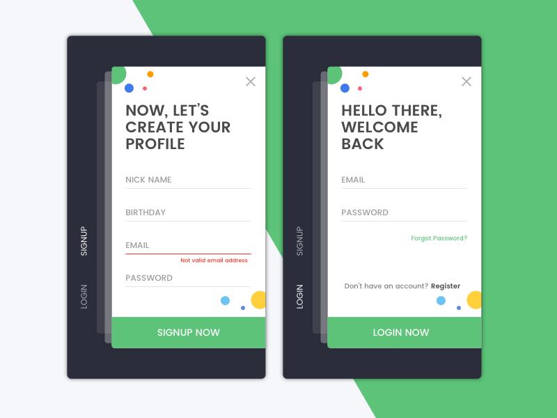 #4 Singup & Login card material design android ios register green black ux ui mobile login signup