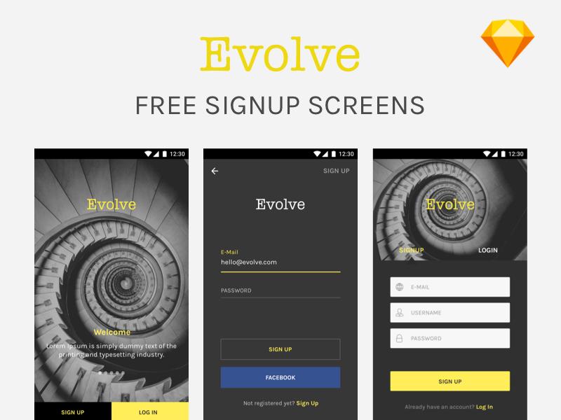 Freebie - Sign Up screens  free mock-up mockup ux ui sketch login ios android signup us freebie