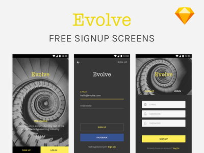 Freebie - Sign Up screens  free mock-up mockup ux ui sketch login ios android signup us freebie