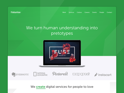 FR - Homepage web landing page hero header clean green ux ui website