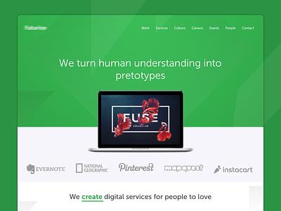 FR - Homepage web landing page hero header clean green ux ui website