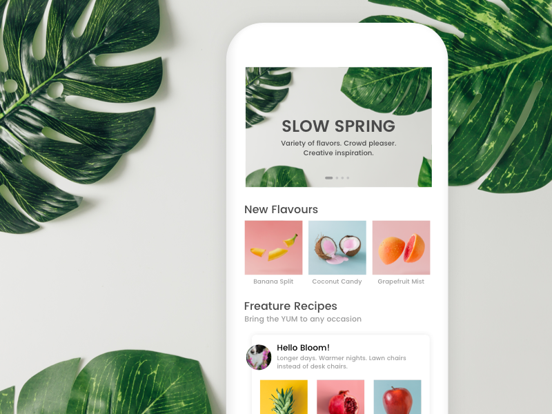 Spring Ice cream app ux ui green spring fruit fruits ice cream white minimal ios
