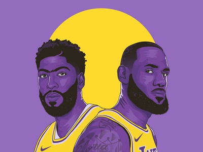 Bron x Brow lakers anthony davis vector lebron james basketball illustration