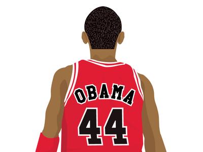 #44 chicago bulls barack obama potus illustration 44