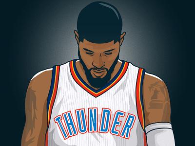 Paul George oklahoma city thunder paul george okc basketball nba illustration