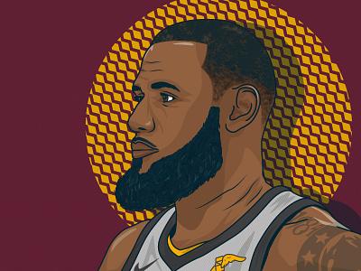 King James lebron james nba portrait vector illustration