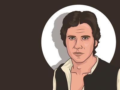 Han Solo star wars solo han vector illustration portrait