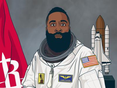 Astronaut Harden illustration vector james harden houston rockets basketball nasa nba