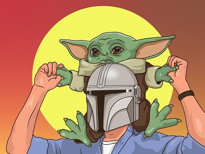 Mando and Baby Yoda the mandalorian baby yoda star wars vector illustration
