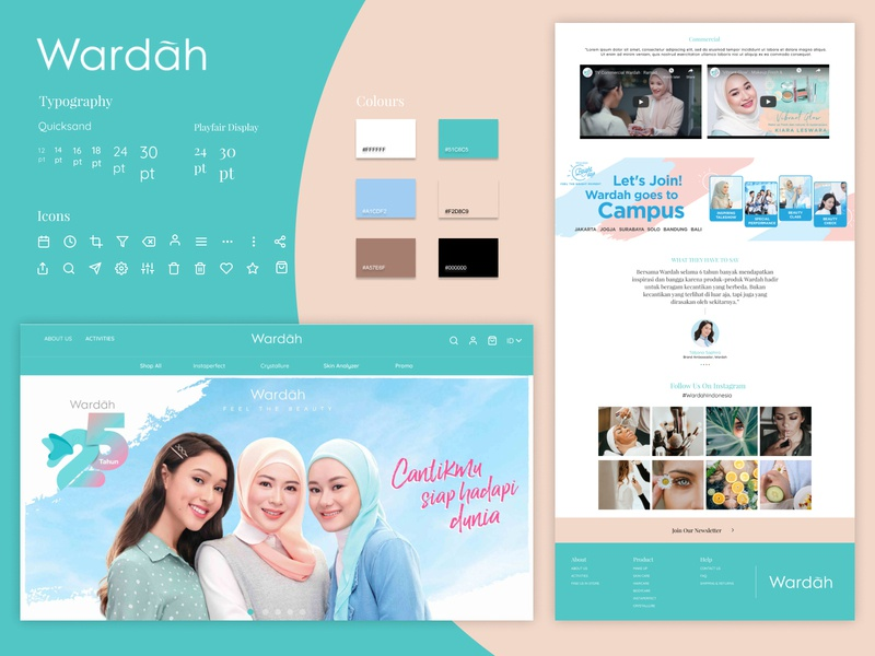 Wardah Landing page illustration typography website ux branding indonesia design ui interface product