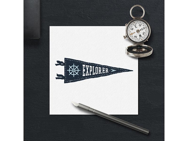 Explorer vintage typography pirate logo lettering hipster grunge design badge explorer flag