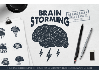 Brain Storming. Hand Drawn Badges