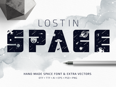 Lost In Space. Color Font (SVG) infinit solar system univers cosmic galaxy cosmo stars astronaut space lost in space star system