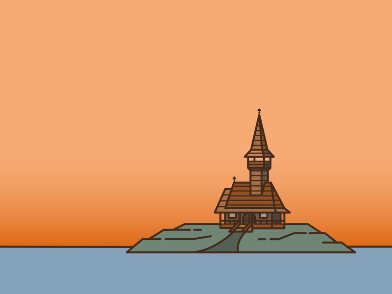 Wooden Church eastern europe east line line animation line art island church wooden illustration