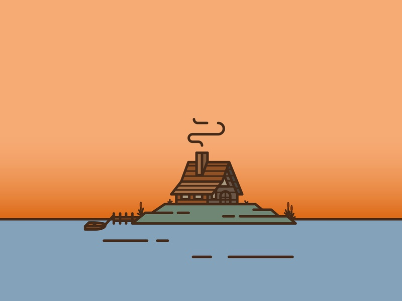 Wooden Cabin boat vector wooden line art line animation line island illustration