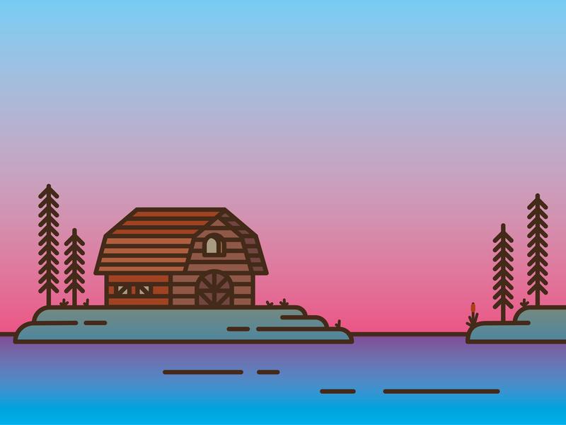 Wooden Barn pine tree pine american barn vector wooden line art line animation line island illustration