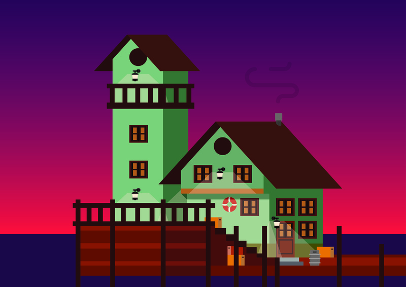 Old Fishing Store pier old store shack fishing wooden vector illustration