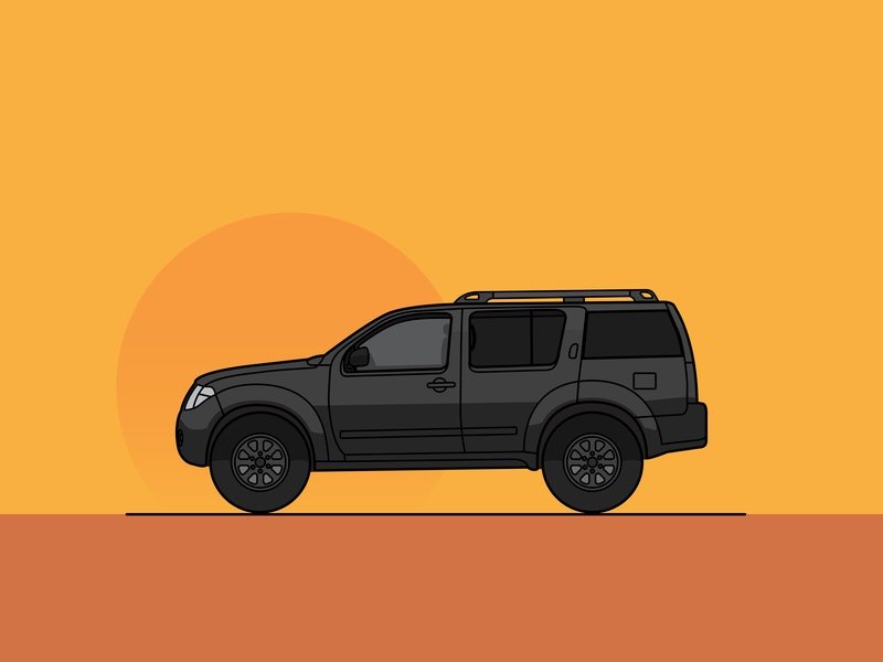 Nissan Pathfinder lineart explore travel vanlife warm sunset car black truck 4x4 overland pathfinder nissan line art line animation line vector illustration