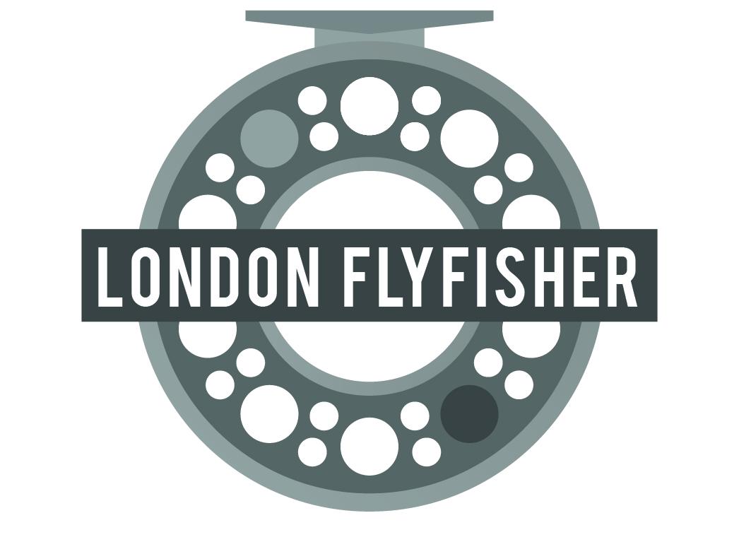 London Fly Fisher BW branding logo reel fishing flyfishing tfl tube london underground london vector illustration