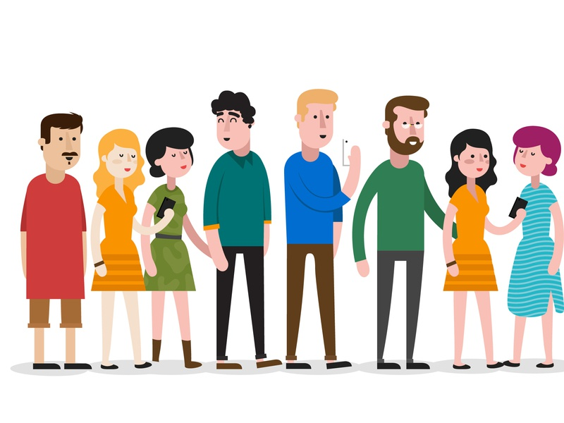 I didn't know Dave was seeing Julie. flat character hipsters people design vector illustration
