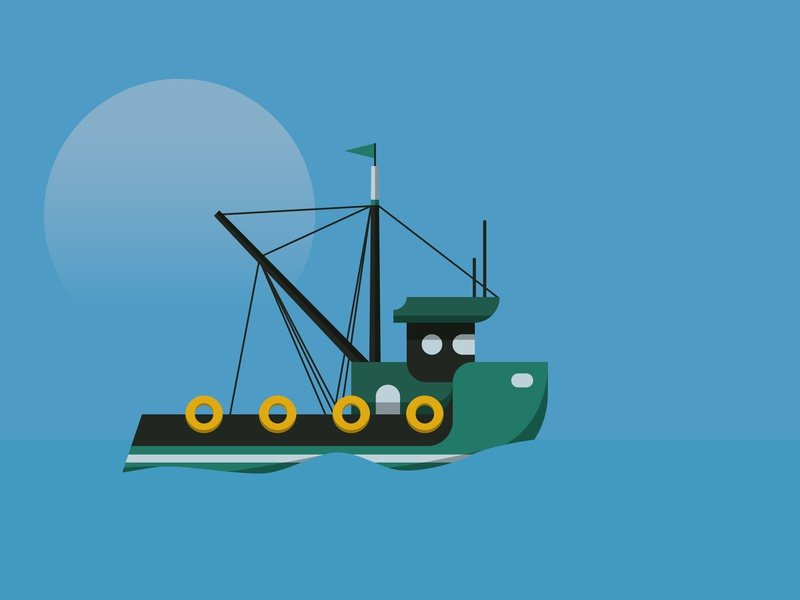 As the day Breaks moon blue fishing design vector illustration boat