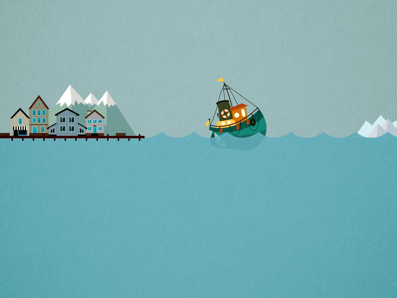 Tears at the dock. fishing design vector illustration mountain island snow mountains sea dock pier scotland uk iceland scandinavia north isle boat