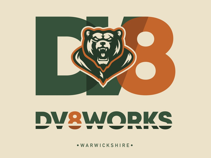 DV8works Logo branding design vector illustration logodesign logotype orange green uk truckworks truck coachworks basketball college sports baseball team college football college varsity logo