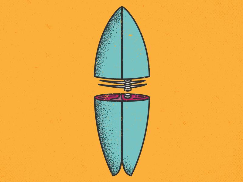 Fish Surfboard Sushi lineart blue orange fish sushi pun surfboard surfing line art design vector illustration