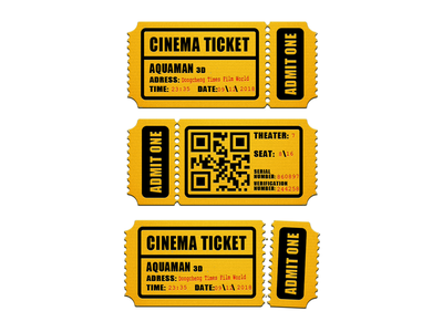 Cinema Ticket ticket cinema photoshop illustration design icon ui