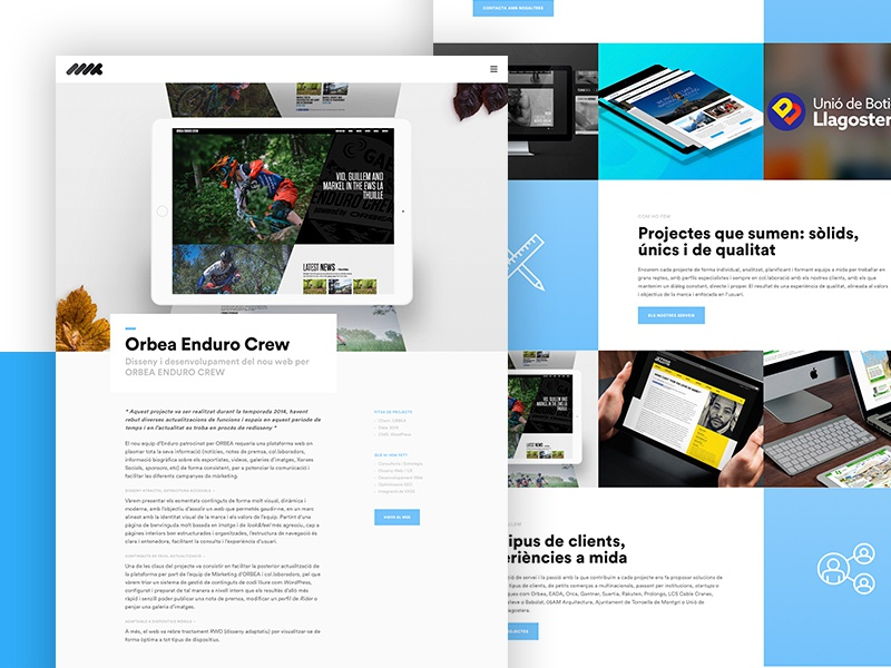 MMX Studio grid blue gray black white minimal ux ui website webdesign