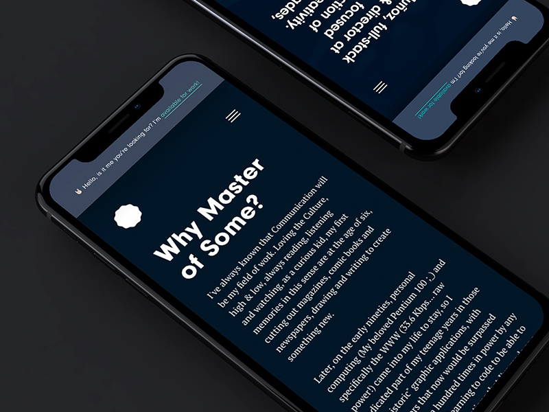Master of Some wip iphonex mobile white green blue minimal ux ui website webdesign