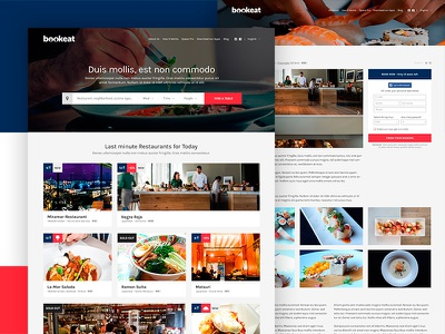 Bookeat grid white red blue ux ui website webdesign