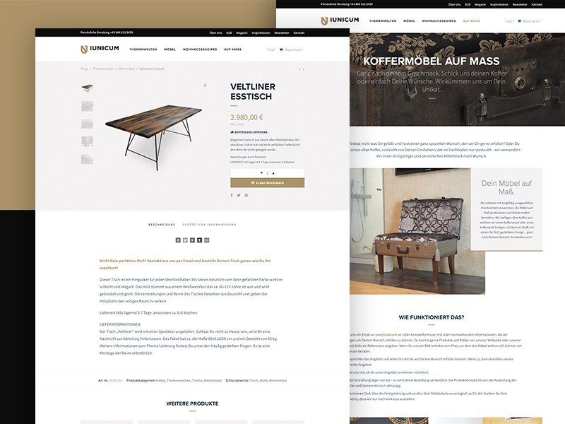 IUNICUM design ecommerce white black brown gold ux ui website webdesign