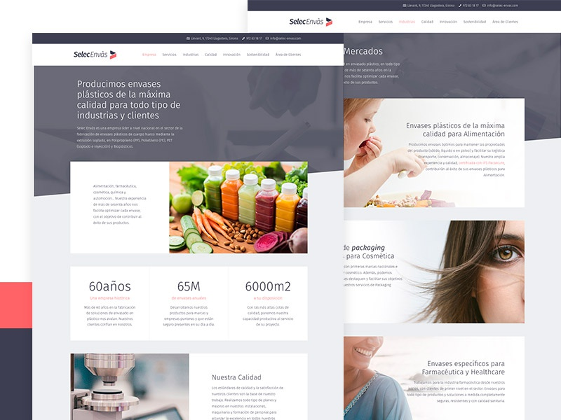 Selec Envàs red blue gray white minimal ux ui website webdesign