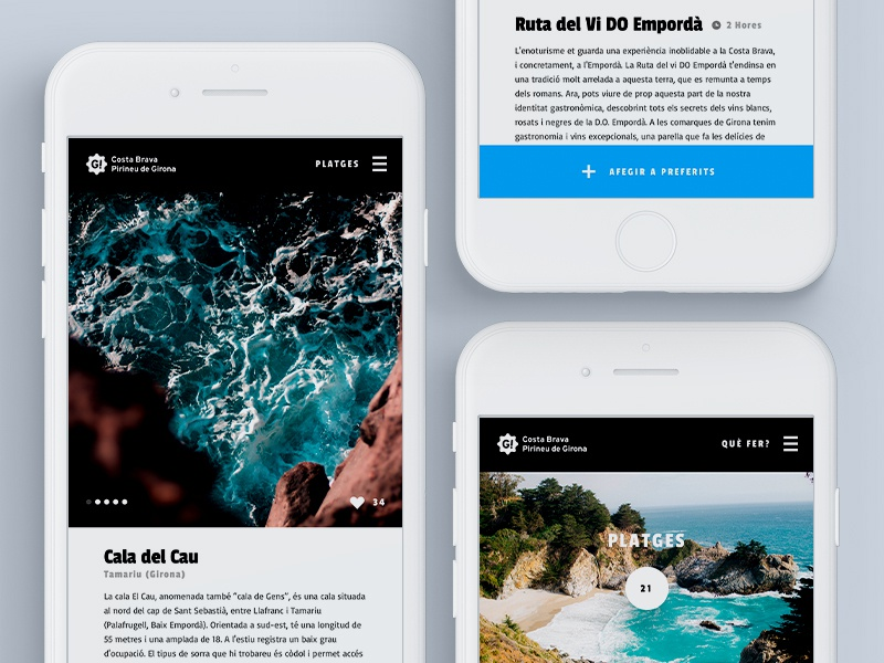 Enjoy Costa Brava website tourism travel wip appdesign design girona costa brava ux ui app