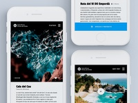 Concept screens for a tourist routes app on the Costa Brava